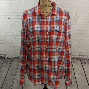 J. CREW 3/4 Button Down Plaid Shirt